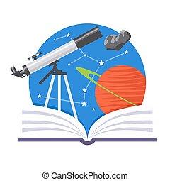 Astronomy Emblem - Astronomy emblem with a telescope, comet...