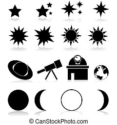 Astronomy icons - Set showing different astronomy related...