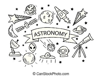Astronomy icons set. Hand drawing illustration.