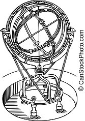 Astronomy instrument - Ancient astronomy instrument on white...