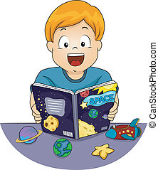 Astronomy Kid - Illustration Featuring a Little Boy Reading...