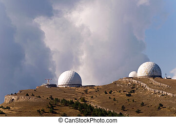 Astronomy laboratory at the top of the mountain and...