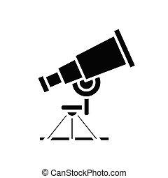 Astronomy lesson black icon, concept illustration, vector flat symbol, glyph sign.