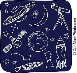 Astronomy - space and night sky objects - Drawing of...