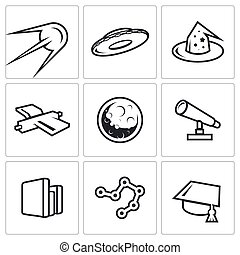 Astronomy, space, science icons set. Vector Illustration. -...