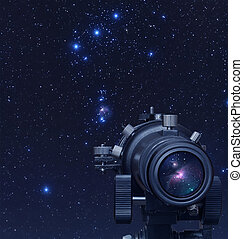 Astronomy - A picture of telescope pointed at Orion nebula