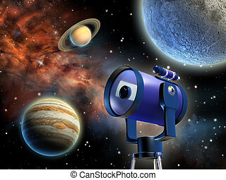 Astronomy - Studying distant planets through a telescope. ...