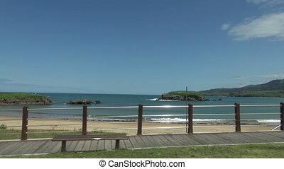 Asturian beach from car - shot from car of Island Beach in...