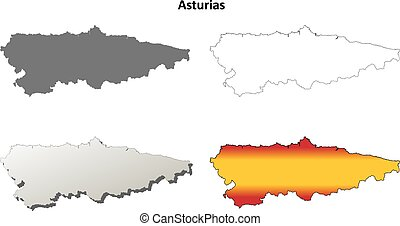 Asturias blank detailed outline map set - Asturias blank...