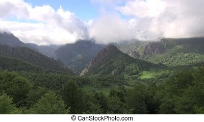 Asturias valley fast - mountains in Asturias at Spain Europe...