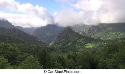 Asturias valley fast - mountains in Asturias at Spain Europe...