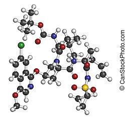 Asunaprevir hepatitis C virus (HCV) drug molecule. Atoms are rep