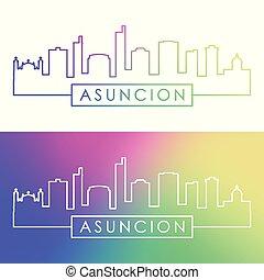 Asuncion skyline. Colorful linear style.