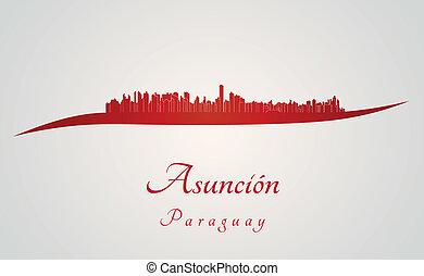 Asuncion skyline in red