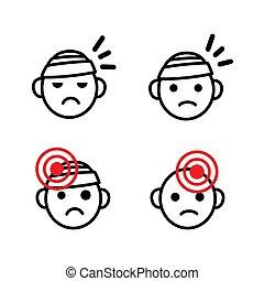 asunto, médico, triste, vector, etcétera, migraña, salud, dolor, cabezas, vendado, dolor de cabeza, set., conjunto, icono, lesión, cabeza, emoji