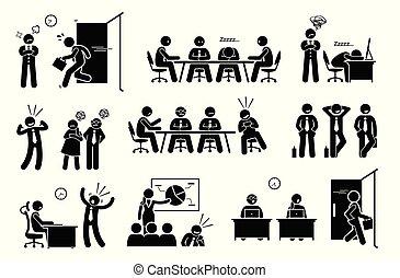 asunto, perezoso, inútil, workplace., tela, millennials, social