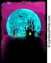 asustadizo, abbey., halloween, eps, mágico, vector, 8