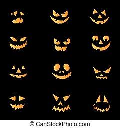 asustadizo, caras, halloween, calabaza