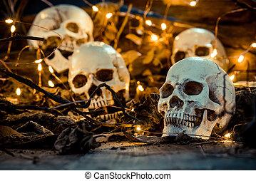 asustadizo, escena de halloween, cráneo