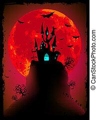 asustadizo, halloween, vector, con, mágico, abbey., eps, 8