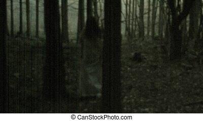 asustadizo, horror, mujer, escena