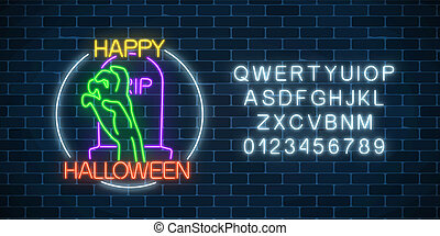 asustadizo, huesudo, alphabet., neón, halloween, señal, encendido, diseño, noche, mano, bandera, tumba