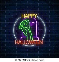 asustadizo, huesudo, neón, halloween, brillante, señal, encendido, diseño, noche, grave., mano, bandera, style.