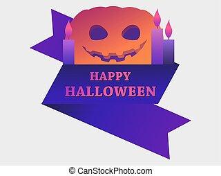 asustadizo, ilustración, calabaza, saludo, 31st., tarjeta, octubre, candles., feliz, halloween, vector