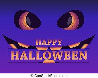 asustadizo, ilustración, eyes., halloween, 31st., negro, octubre, feliz, mal, vector, cara