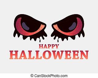 asustadizo, ilustración, fondo., halloween, ojos, 31st., blanco, octubre, feliz, mal, vector