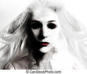 asustadizo, mal, fantasma, mujer, en, blanco