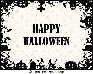 asustadizo, octubre, card., festivo, branches., marco, halloween, tumbas, ilustración, saludo, vector, 31st., calabazas, cuervos, feriado, feliz