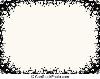 asustadizo, octubre, card., marco, halloween, saludo, ilustración, borders., vector, 31st., rama, feriado