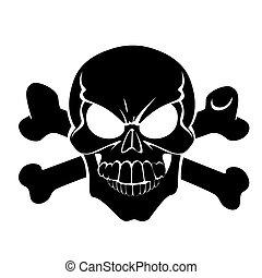 asustadizo, peligro, alegre, el hacer muecas, roger, huesos, señal, o