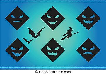 asustadizo, siluetas, halloween, plano de fondo, caras