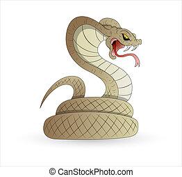 asustadizo, vector, serpiente
