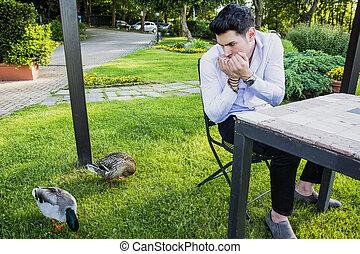 asustado, joven, mirar fijamente, en, par, de, patos
