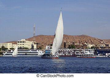 Aswan, Nile and boats in Egypt