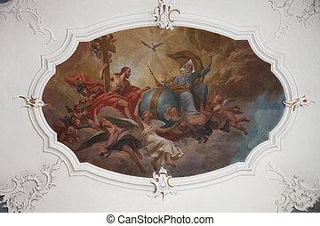 asyl, helig, schmerlenbach, st., fresk, agatha, målning,...
