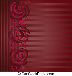 asymmetric burgundy background with a band of roses