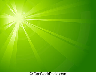 Asymmetric green light burst with the centre in the upper left third. All rays controlled by on linear gradient. Radial gradient for background, outer ring. Artwork grouped and layerd. Global colors.