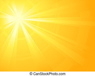 Asymmetric yellow orange light burst with the centre in the upper left third. All rays controlled by two linear gradient. Radial gradient for background, outer ring. Artwork grouped and layerd. Global colors.