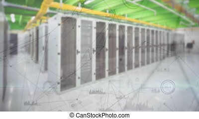 Digitally generated animation of asymmetrical lines moving in the screen and background of server towers.
