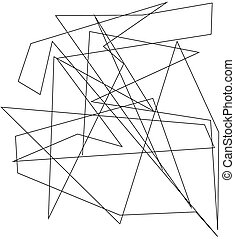 Asymmetrical texture with random chaotic lines, abstract geometric pattern. Black and white vector illustration Grunge urban style.