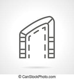 asymmetrisch, bogen, einfache , linie, vektor, ikone