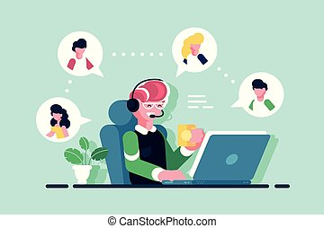 asystent, pracujące biuro, online