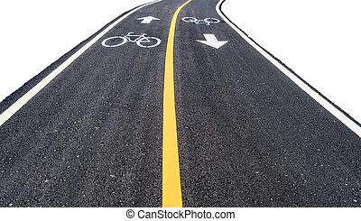 aszfalt, bicikli, út, noha, sárga megtölt