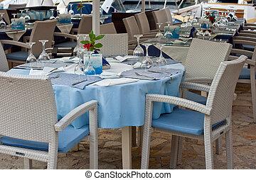 asztal, étterem