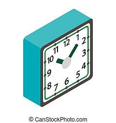 asztal, óra, ikon, isometric, 3, mód