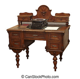 asztal, öreg, berendezés, grunge, antik